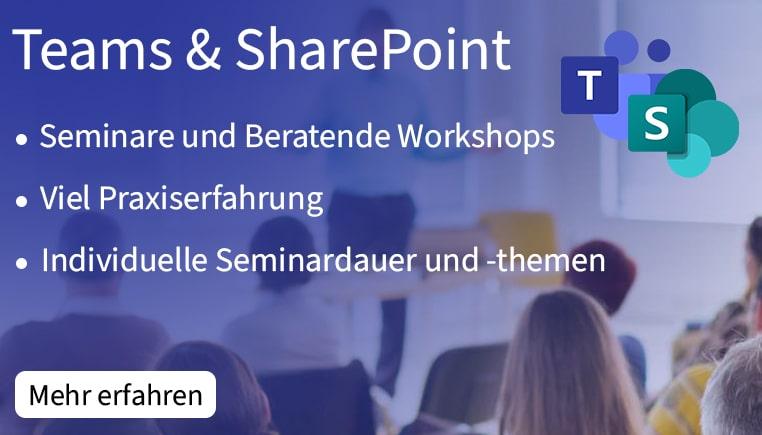 Leistungen zu unseren Microsoft Teams und SharePoint Seminaren.